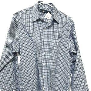 NWT Raph Lauren Mens Long Sleeve Plaid Dress Shirt
